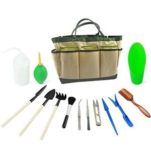 yasu7 Kit d'outils de plantation pour plantes succulentes miniatures, kit d'outils pour plantation familiale, décoration de botanique pour plantes succulentes, ensemble d'outils avec sac
