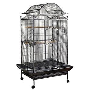 zlw-shop Cage à Oiseaux Ménage Grand Oiseau Cage Peroclet Cage Cockatiel Noir avec Une Cage de Reproduction à la Coupe d'alimentation Convient aux troupeaux d'oiseaux Nichoirs (Color : Black)