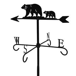 ZOSUO Girouette Vintage en Métal Motif Ours Animal Noir Indicateur de Direction du Vent pour Jardin Toit Paddock Décoration Outil de Mesure de Girouettes Vent