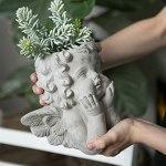 ZYFWBDZ Pot de Fleur d'ange Mignon, Portrait Sculpture Art Plante Pot de Fleur intérieur extérieur en Pot de Plantation conteneur, décoration de la Maison Artisanat de Ciment,13x25x23cm