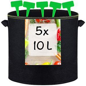 5 Sacs de Plantation en Tissu non Tissé 10L – Avec Étiquettes et Poignée – Pot Geotextile pour Plantes, Fleurs, Fruits