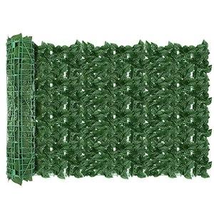 AGJIDSO Clôture Artificielle de Feuilles de Lierre artificielles,24pc30*50 Écran de clôture antivol de Jardin extérieu,Mur Vegetal clôtures décoratives Faux Fond d'écran d'herbe(Feuille de Pomme)
