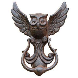 ALEOHALTER Poignée de porte vintage en forme de hibou en fonte robuste amovible facile à installer Marron