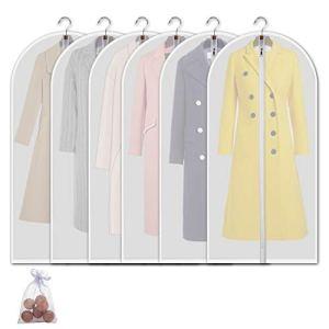 Allhom Moth Proof Vêtements Sacs–Lot de 6pcs 152,4cm Grande à Suspendre vêtement de Sacs et de cèdre Mites Vestimentaires, pour Manteau, Robe Longue, Robes, Costumes et Danse: