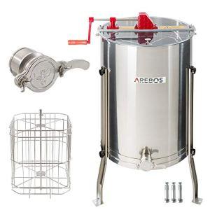 Arebos Extracteur de Miel   Manuel   4 Cadres   Acier Inoxydable   avec Robinet   Premium
