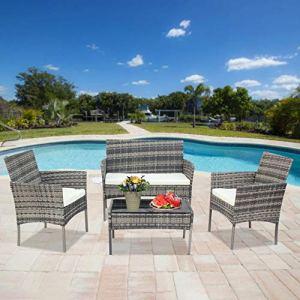 ARONTOME Ensemble de 4 meubles de jardin en rotin gris, 1 siège de jardin + 2 chaises de jardin + 1 table basse, pour balcon extérieur