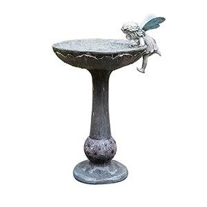 ASDWS 33,46 Pouces de Hauteur en Plein air Petit Ange Bain d'oiseaux de Jardin, Bain d'oxyde de magnésium avec Support, décor de Jardin, Bol d'eau, mangeoire pour Oiseaux Sauvages