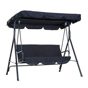 Auvent pour balancelle, chaise longue de jardin, balançoire de jardin, banc à balançoire, coussin d'assise en tissu Oxford, 2/3 places avec toit en acier pour jardin, terrasse