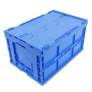 BAC PLIABLE AVEC COUVERCLE 61 LITRES BLEU, bac gerbable pliant, caisses plastiques pliantes, qualité industrielle, 60x40x33cm, jusqu'à 60 kg