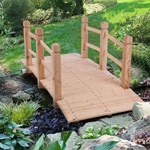 Blanketswarm Pont de jardin en bois, 1,5 m avec balustrades latérales, décorations de cour, pont d'étang – Burlywood