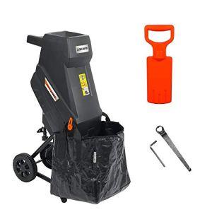 Broyeur électrique à lames DELTAFOX – DG-EKS 2445-2400 W – incl. sac de ramassage de 45 l – léger avec 12 kg – roues avec capot de roue – broyeur de jardin pour branches de 45 mm – déchiqueteuse