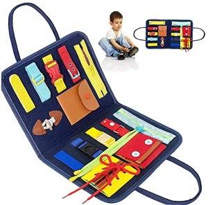 Busy Board Panneau Educatif Jouets pour Enfant,Jouets Sensoriels Montessori Jouet &agrave Fileter La&ccedil age pour B&eacute b&eacute s,Premiers Kits &eacute ducatifs pour l'apprentissage