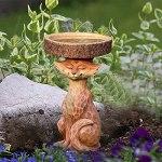 Chahu Bain d'oiseau en résine en forme de renard pour oiseaux – Décoration de jardin