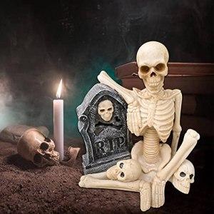 Dan&Dre Sculpture squelette pour pot de jardin, décoration en résine pour cour, bureau, rebord de fenêtre