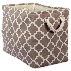 DII Grande poubelle de rangement rectangulaire en polyester avec motif treillis Marron
