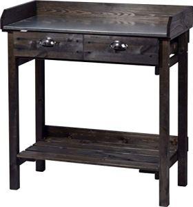 dobar 29031e Table de Jardinage Pratique avec 2 tiroirs et Plateau en épicéa Noir 79 x 39 x 90 cm