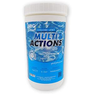 EDENEA – Chlore Multi Actions Piscine – Pastilles 20g – Boite 1 kg – Traitement Longue Durée Désinfectant Multi Fonctions – EDG