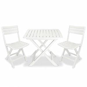 Ensemble de meubles de jardin pliants, ensemble bistro 3 pièces, 2 chaises de jardin et 1 table basse en plastique pour terrasse, cour, porche, piscine, balcon