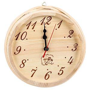 EVTSCAN Horloge de Sauna en Bois, Horloge de minuterie pour Salle de Sauna, Accessoires de Sauna en Westerrnhemlock, Horloge Murale Ronde décorative pour la Maison