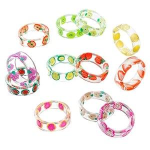 fasloyu Anneau de Fruit, Anneau Acrylique Mignon, Ensemble d'anneau de résine, Anneau coloré d'été (Multicolore)