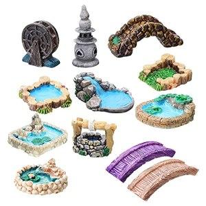 FeelMeet Fairy Garden Accessoires Miniature Jardin Bridge Figurines avec Eau Puits De Bourrien DIY Craft Jardin Décoration 12pcs