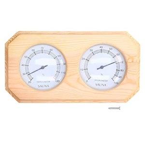 FOLOSAFENAR Thermomètre de Sauna, thermomètre d'affichage d'humidité Un Grand Affichage de la température de la lentille en Verre en Bois pour Les saunas familiaux pour Les hôtels pour Les gymnases