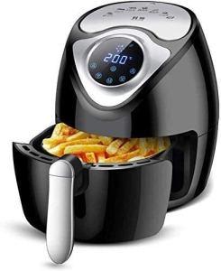 Fours à écran tactile de friteuse friteuse air, cuisson chaude friteuse 2.6L, mettez automatiquement / minuterie / 1300W / contrôle de la température / huile cuve amovible / acier inoxydable 304 (Coul