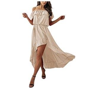 Fulltime® Robe d'été Dames, Robe midi Sexy pour Femmes avec Ourlet à Volants Hors épaule Robes de Plage Robe irrégulière (Kaki,XL)