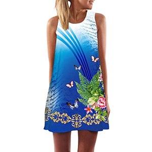 Fulltime® Robe d'été pour Femmes/Femmes Vintage Boho Robe d'été Boho sans Manches Beach Printing Short Mini Robe (Blue,XXL)