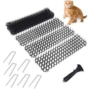 Fuuner Lot de 12 tapis anti-chat avec pics, tapis anti-chat d'intérieur pour extérieur, pour jardin, clôture avec agrafes de jardin et attache torsadée(49 x 14 x 2,7 cm)