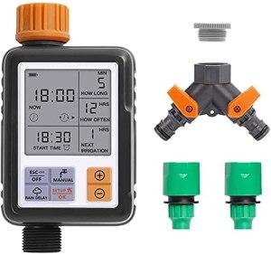 Garden Automatique Automatique, Tuyau Type Sprinkler, Minuterie d'eau programmable, IP65 Imperméable, Affichage Haute définition, Fonction de délai de Pluie Extérieur