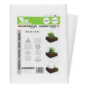GARDENIX® 16 m² Polaire de Protection Contre Le Froid en Non-tissé résistant aux déchirures, épaisseur : 50 g/m² (3,2m x 5m)