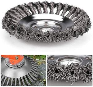 Herbe Strimmer Head Trimmer Brush Solid Steel Wire Wheel Garden Weed Razors Snow Island Plough Rope Tondeuse pour pelouse Outil de remplacement rotatif (8inch)
