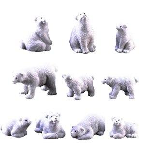 HuaHuoYou PolarBearMossMicrolandscapeR¨¦sineJardinMiniaturePolarOursFigurines10pcs