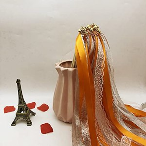 JUNCHUANG Baguette de ruban en dentelle multicolore pour mariage – Rotatif – Avec clochette – Décoration