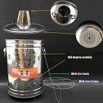 JUNKUN Incinérateur Portable, incinérateur Portable en Acier Inoxydable, incinérateur avec cheminée utilisé pour brûler Les ordures ménagères et Les Mauvaises Herbes à Feuilles