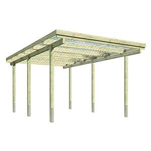 KAISER plastic® Carport   Kit complet en bois avec toit et accessoires   Dimensions : 304 x 510 cm   Toit en panneaux ondulés Xtra Strong PC   Parfait pour les voitures