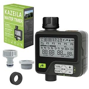 Kazeila Programmateur Arrosage Arrosage Automatique pour Jardin 6 programmes d'irrigation séparés avec contrôle Manuel étanche par capteur de Pluie pour pelouse de Jardin