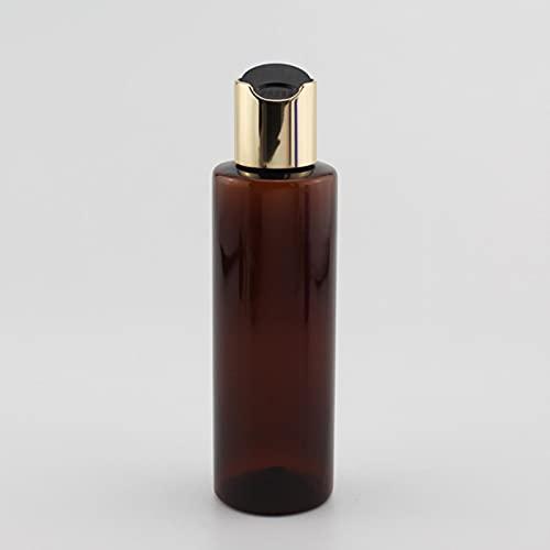 Kunsa 5 pièces 200 ML Bouteilles cosmétiques en Plastique avec Bouchons de Disque en Aluminium doré Lotion pour Le Corps shampooing Gel Douche Bouteilles d'huile