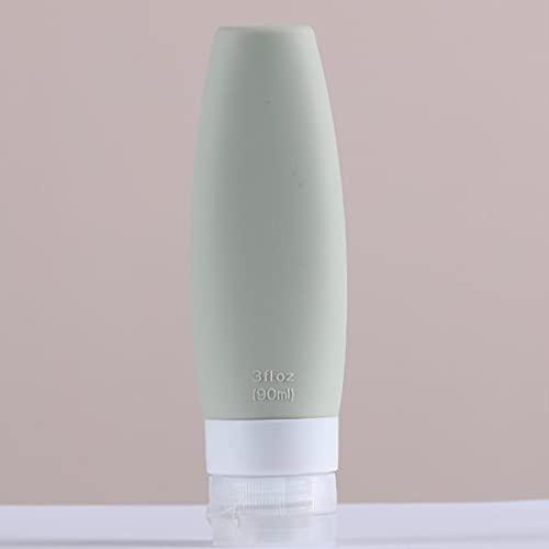 Kunsa Presse de Voyage Vide de Bouteille Rechargeable de Silicone portative de 2 pièces pour des récipients cosmétiques de Compression de shampooing de Lotion