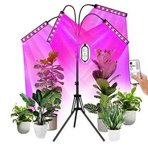 Lampe de Plante,EEIEER Lampe Horticole Lampe de Croissance Éclairage Horticole 4 Têtes 2 Rangées 216LEDs Lampe LED Horticole avec Trépied,Timer 4H/8H/12H/ 3 Modes de Luminosité et 10 Niveaux Dimmables