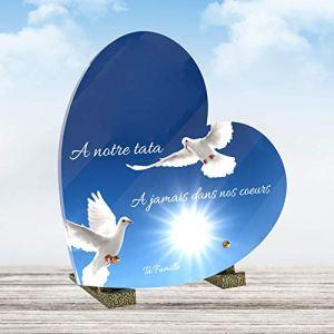 Le Coq Funéraire – Plaque Funéraire Personnalisée Forme Coeur – Thème Colombe – Plaque en Altuglass – Résistante aux Intempéries et Traitée Anti UV – Dimensions 21×21 cm…