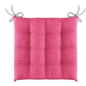 Lileno Home Coussin de chaise 40 x 40 x 4,5 cm, rose bonbon, Lot de 4