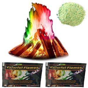 Lot de 2 paquets de poudre de colorant pour feu de feu de camion et de couleurs changeantes et colorées – Idéal pour foyer, brûleur à bois