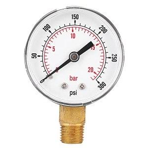 Manomètre, 1/4 filetage BSPT Manomètre de test de pression en laiton polyvalent pour l'eau pour l'huile pour le gaz pour l'air pour le carburant(0-300psi 0-20bar)