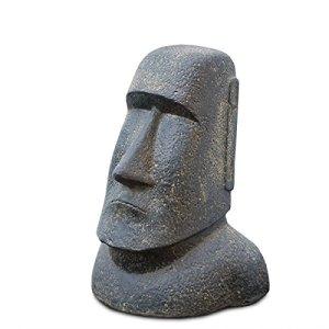 Moai Rapa-Nui Statue de jardin en sable de lave, île de Pâques, tête de décoration de jardin Gris pierre env. 40 cm