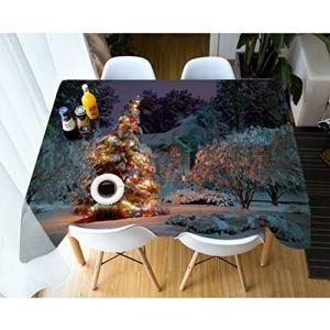 Nappe de Noël de mode, Joyeux Noël Arbre Imprimé Drapproof Table rectangulaire Table De Mariage Rectangulaire Tissu De Table,228x396cm