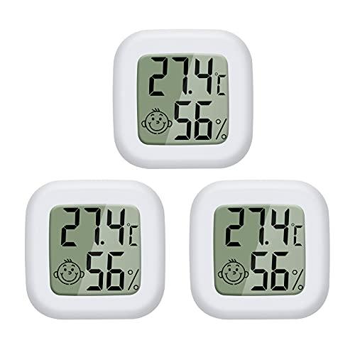 PAIRIER Mini LCD Thermomètre Hygromètre Interieur Numérique Température Humidité de Haute Précision Portable -50 ℃ ~ 70 ℃ 10% ~ 99% RH pour Salon entrepôt Chambre de bébé Vestiaire