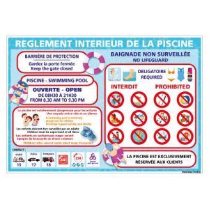 Panneau Réglement Intérieur De La Piscine – Dimensions 420×300 mm – Aluminium 2 mm – Protection Anti-UV