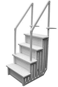 PISCINEO Escalier pour Piscine à Fond Plat H 1,22m à 1,37m